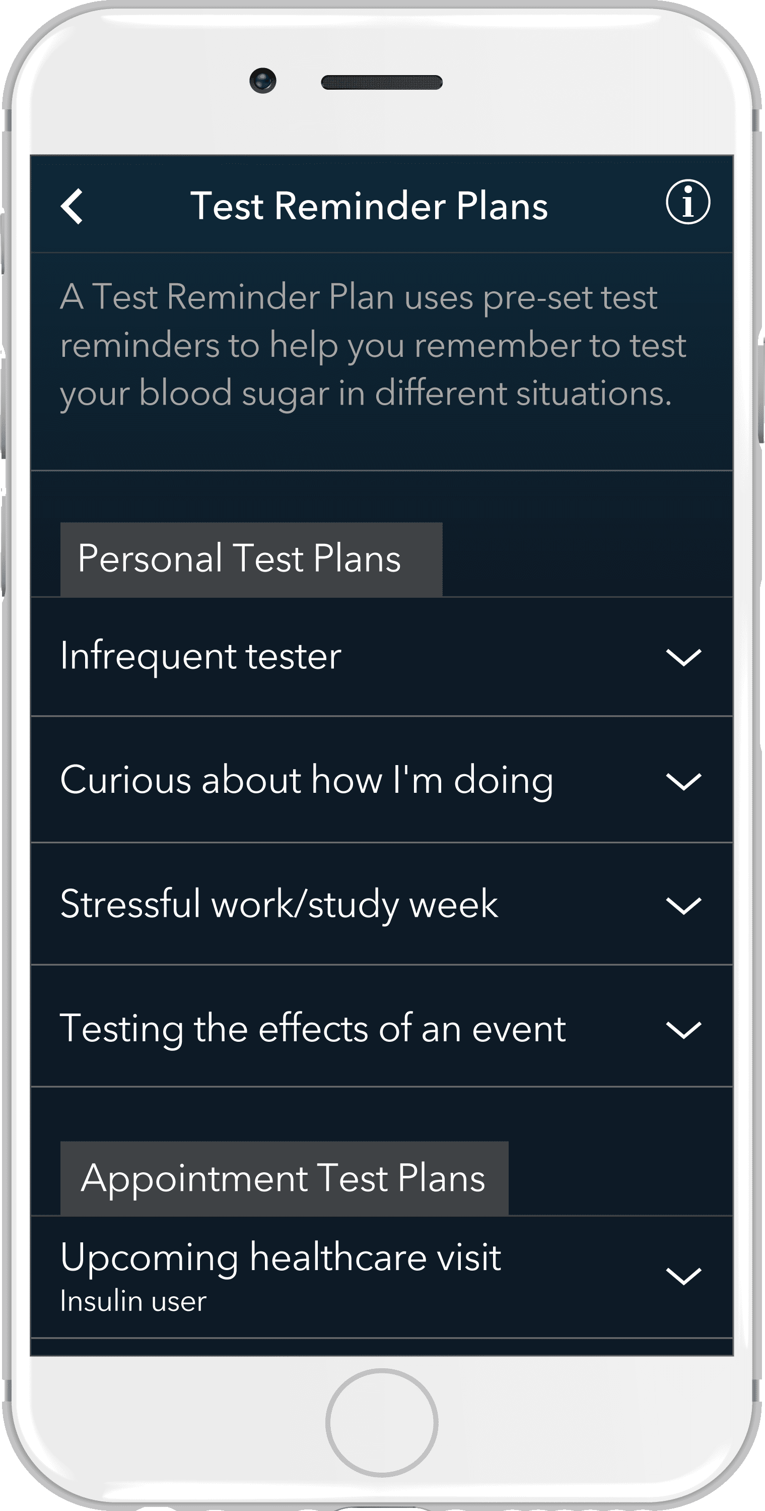 Multiple plan options available in the app